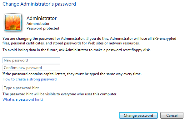 change admin password windows 7