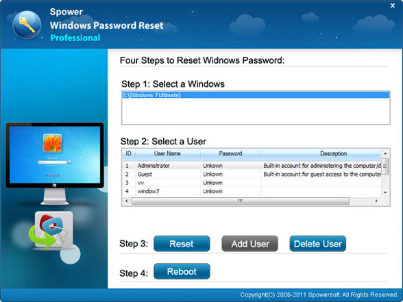 Windows 7 admin password reset with spower software