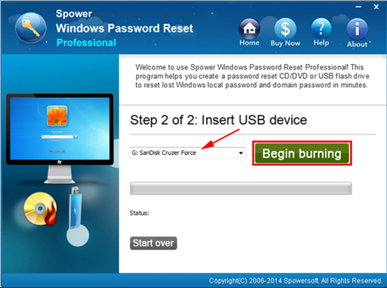 burn password reset disk