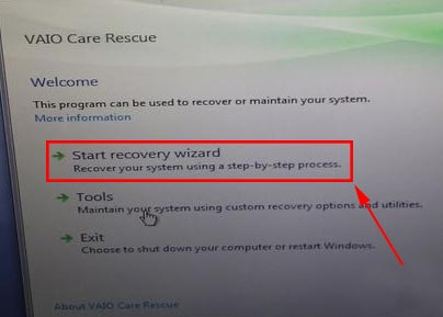 sony vaio system image recovery