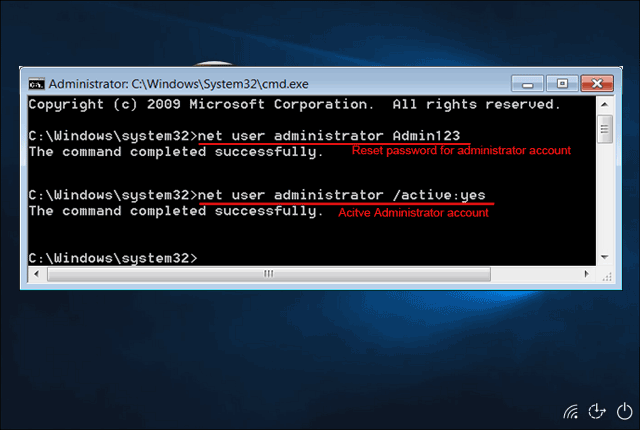 cmd reset local administrator password
