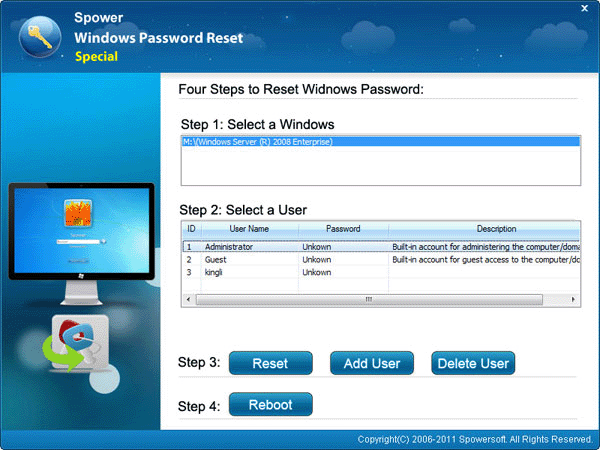 Windows Server 2008 r2 administrator password recovery