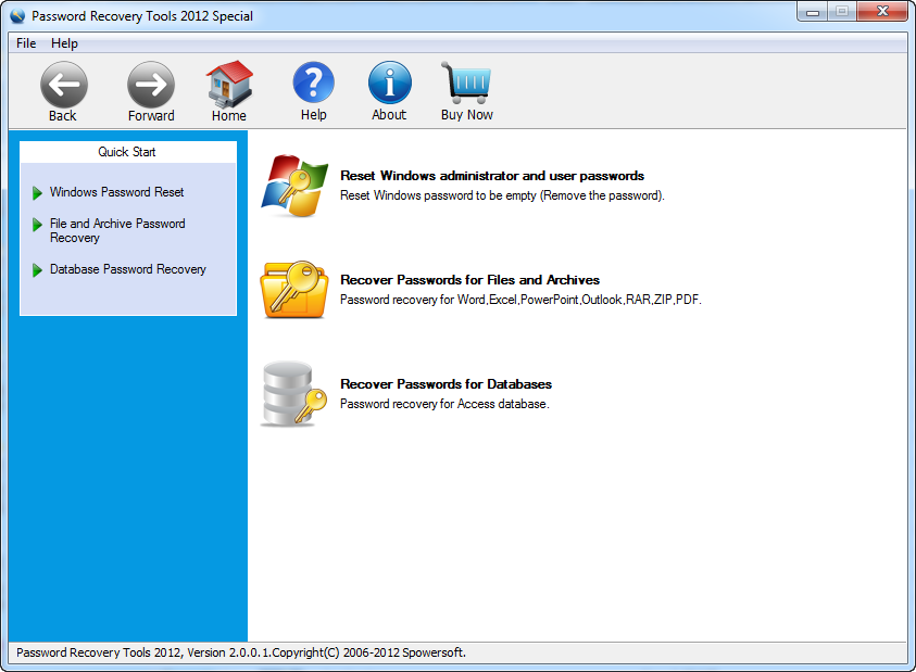 Click to view Password Recovery Tools 2012 Special 2.0.0.1 screenshot