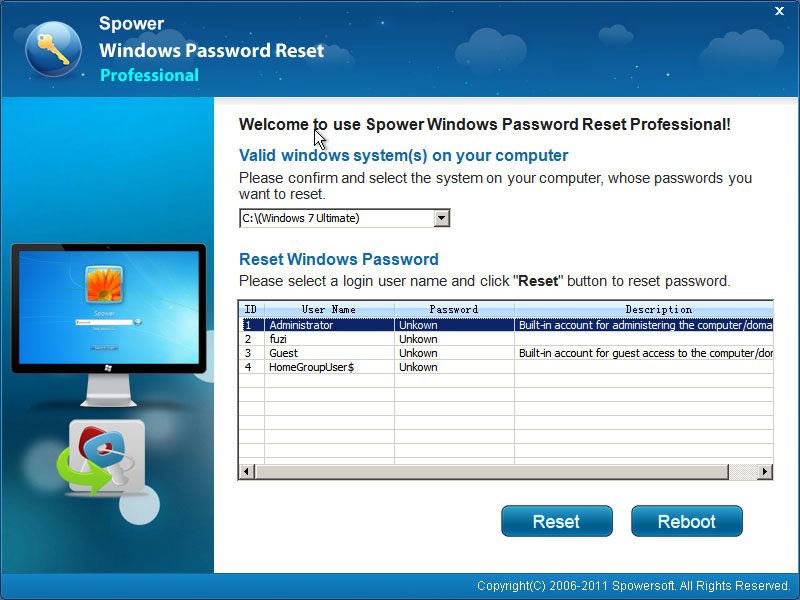 Windows Password Reset Professional 10PC screenshot