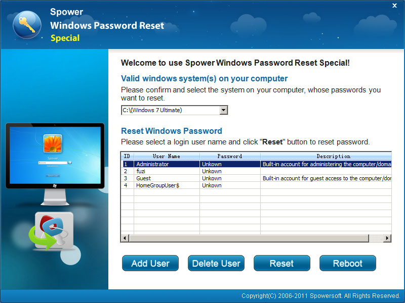 Windows Password Reset Special Unlimited screenshot