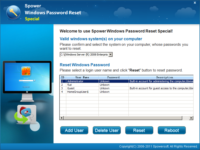 Reset Windows server 2008 Password instantly