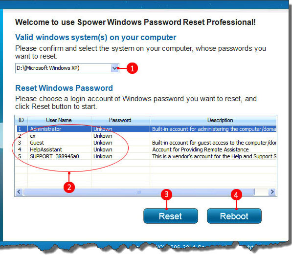 resetting password on windows xp professional